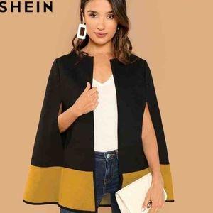 Shein 2 toned cape black yellow Size XS